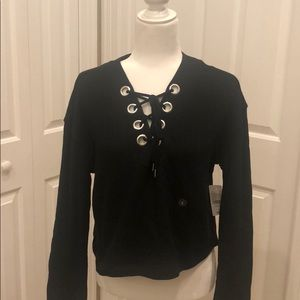 NWT Kendall & Kylie black lace up bell shirt